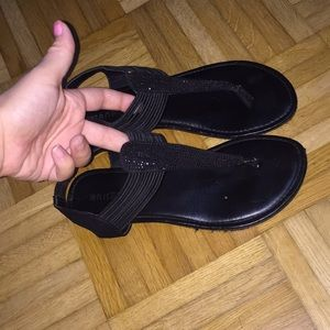 Black rhinestone slip on sandals